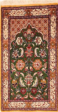 Persian Tabriz Green Rectangle 2x3 ft Wool Carpet 26289