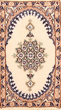 "Nain White Hand Knotted 1'3"" X 2'2""  Area Rug 100-26334"