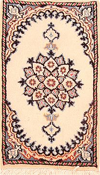 "Nain White Hand Knotted 1'3"" X 2'2""  Area Rug 100-26338"