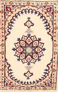 "Nain White Hand Knotted 1'3"" X 1'11""  Area Rug 100-26354"