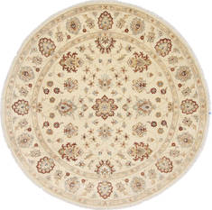 Pakistani Chobi Beige Round 7 to 8 ft Wool Carpet 26368