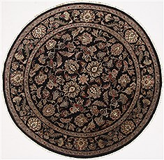"Agra Beige Round Hand Knotted 7'8"" X 7'9""  Area Rug 250-26371"