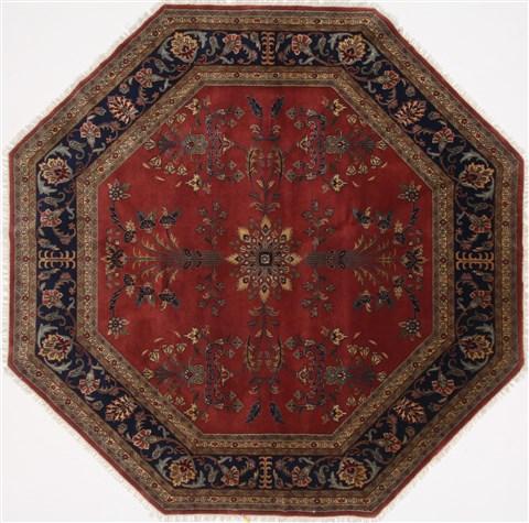 Indian Sarouk Blue Octagon 7 To 8 Ft Wool Carpet 26376