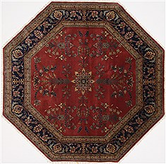 "Sarouk Blue Octagon Hand Knotted 7'11"" X 7'11""  Area Rug 250-26376"
