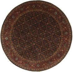 "Indian Herati  Wool Beige Round Area Rug  (7'10"" x 7'10"") - 250 - 26379"