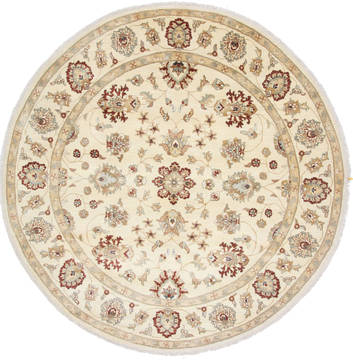 Pakistani Chobi Beige Round 7 to 8 ft Wool Carpet 26383