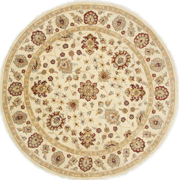 Pakistani Chobi Beige Round 7 to 8 ft Wool Carpet 26398