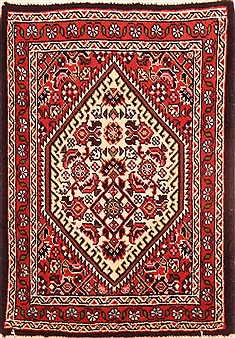 "Bidjar Red Hand Knotted 1'5"" X 2'0""  Area Rug 100-26427"