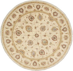 Pakistani Chobi Beige Round 7 to 8 ft Wool Carpet 26441