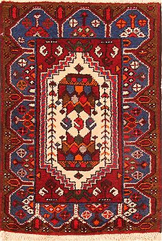 Persian Hamedan Red Square 4 ft and Smaller Wool Carpet 26456