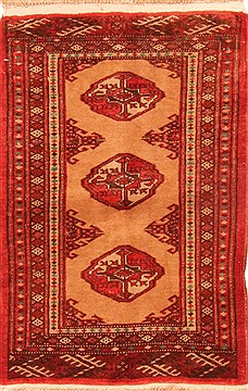 "Turkman Brown Runner Hand Knotted 1'2"" X 2'8""  Area Rug 100-26510"