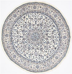 Indian Tabas Blue Round 7 to 8 ft Wool Carpet 26512
