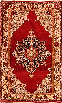 Persian Hamedan Red Rectangle 4x6 ft Wool Carpet 26547