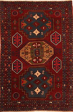 "Kazak Red Hand Knotted 4'2"" X 6'4""  Area Rug 100-26549"