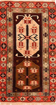 "Kazak Brown Hand Knotted 3'9"" X 6'9""  Area Rug 100-26554"