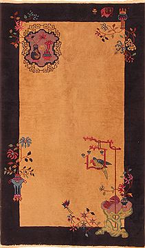 "Asian Inspired Brown Hand Knotted 4'0"" X 6'9""  Area Rug 100-26555"