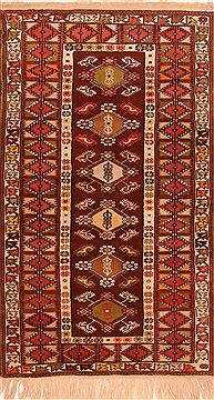 "Yalameh Red Hand Knotted 3'8"" X 6'0""  Area Rug 100-26580"