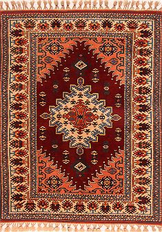 "Kazak Red Hand Knotted 5'1"" X 6'7""  Area Rug 100-26628"