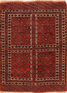 "Yamouth Red Hand Knotted 4'0"" X 5'5""  Area Rug 100-26675"