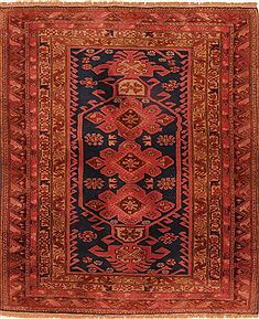"Yalameh Red Hand Knotted 4'2"" X 4'11""  Area Rug 100-26677"