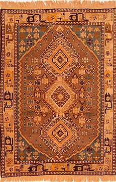 Persian Yalameh Orange Rectangle 3x5 ft Wool Carpet 26767