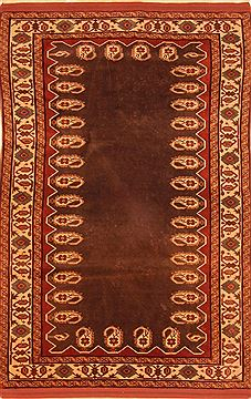 Persian Kurdi Brown Rectangle 4x6 ft Wool Carpet 26769