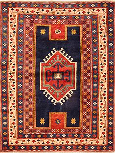 "Kazak Blue Hand Knotted 4'8"" X 6'0""  Area Rug 100-26780"