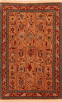 "Shiraz Orange Hand Knotted 3'4"" X 5'1""  Area Rug 100-26791"