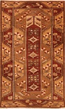 "Kazak Brown Hand Knotted 4'1"" X 6'8""  Area Rug 100-26792"