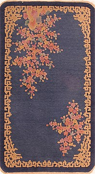 Chinese Asian Inspired Blue Rectangle 3x4 ft Wool Carpet 26796