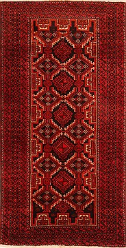 Persian Baluch Red Rectangle 5x7 ft Wool Carpet 26798