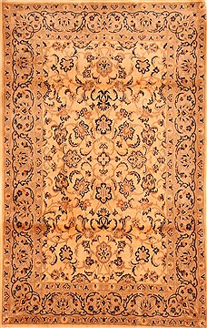 Romania Tabriz Beige Rectangle 4x6 ft Wool Carpet 26799