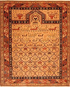 "Shirvan Brown Hand Knotted 4'7"" X 5'6""  Area Rug 100-26811"