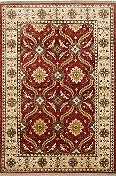 Pakistani Chobi Red Rectangle 6x9 ft Wool Carpet 26819