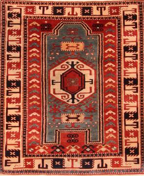 "Kazak Red Hand Knotted 4'2"" X 5'1""  Area Rug 100-26825"