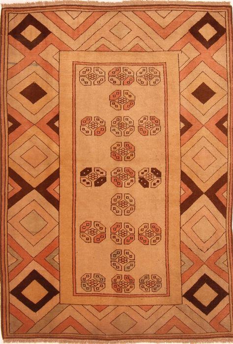 Turkish Gabbeh Brown Rectangle 5x7 Ft Wool Carpet 26838