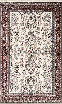 Indian Isfahan White Rectangle 5x8 ft Wool Carpet 26864