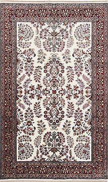 Indian Isfahan White Rectangle 5x8 ft Wool Carpet 26865