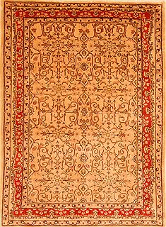 "Sarouk Beige Hand Knotted 4'1"" X 5'7""  Area Rug 100-26872"