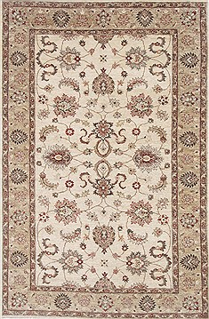 Pakistani Pishavar Beige Rectangle 5x8 ft Wool Carpet 26875