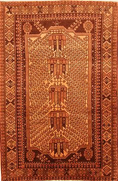 "Shahsavan Brown Hand Knotted 4'2"" X 6'3""  Area Rug 100-26888"
