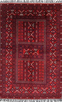 "Turkman Blue Hand Knotted 5'3"" X 7'11""  Area Rug 250-26895"