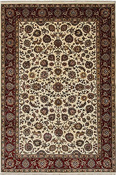 Indian Isfahan White Rectangle 6x9 ft Wool Carpet 26938