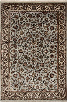 Indian Isfahan Blue Rectangle 6x9 ft Wool Carpet 26941