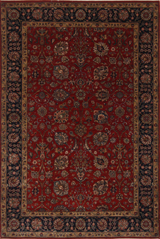 Brown Rectangle 6x9 ft Wool Carpet