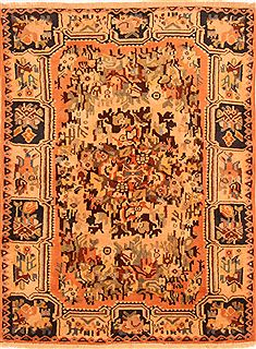 "Bakhtiar Orange Hand Knotted 3'7"" X 4'9""  Area Rug 100-26954"