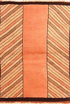 Turkish Gabbeh Orange Rectangle 3x5 ft Wool Carpet 26957