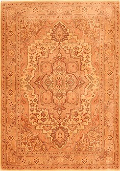 Romania Tabriz Brown Rectangle 4x6 ft Wool Carpet 26966