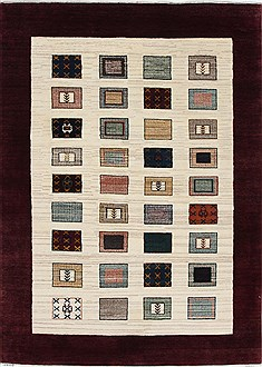 Indian Gabbeh Multicolor Rectangle 4x6 ft Wool Carpet 27091