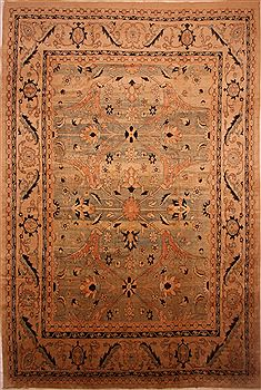 "Mahal Beige Hand Knotted 13'2"" X 20'5""  Area Rug 100-27118"